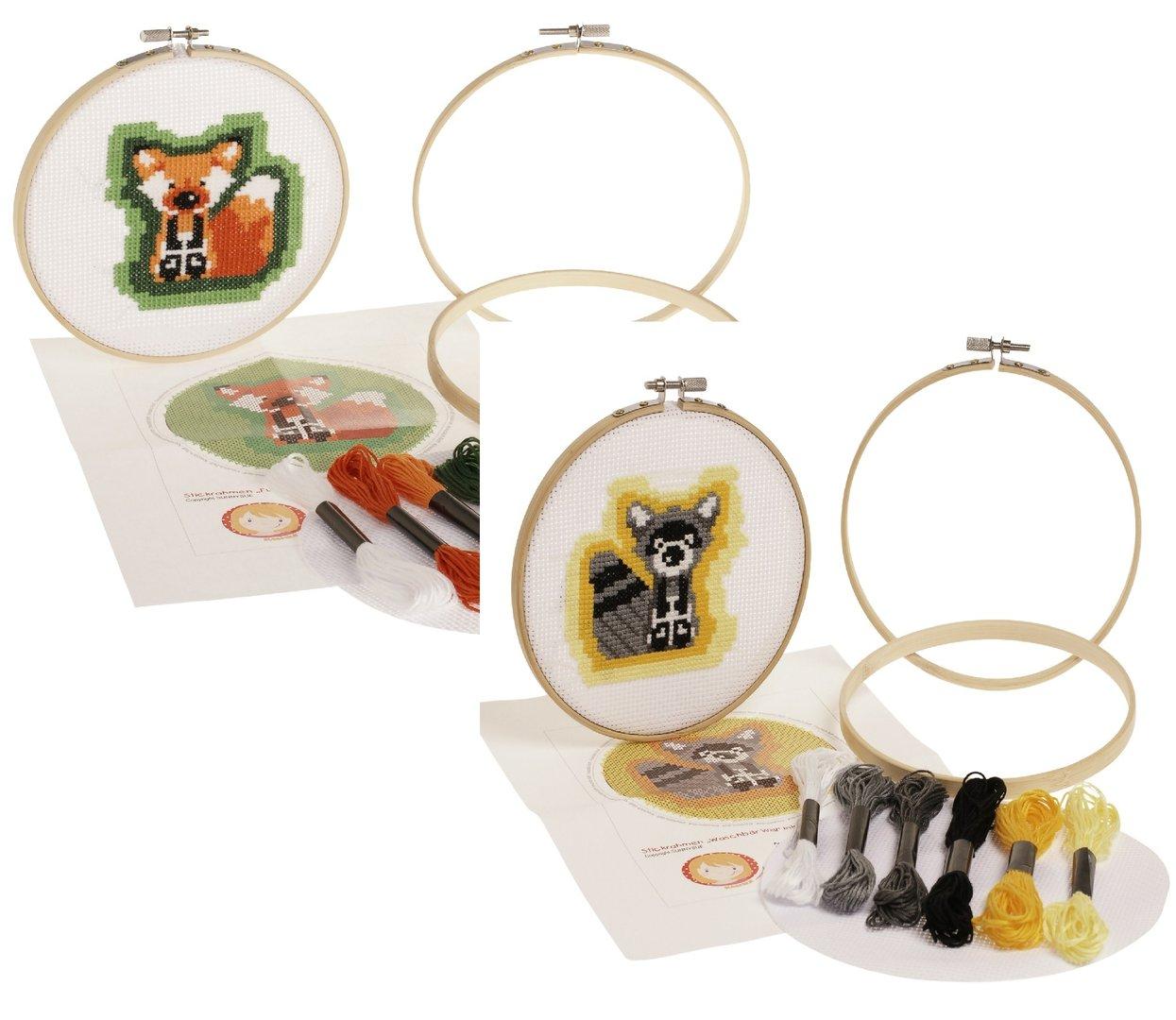 Stickrahmen / Stickring - Kreuzstich Set Fuchs oder Waschbär 15cm
