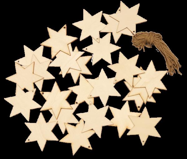Holzanhanger Sterne 24tlg Weihnachstanhanger Christbaumschmuck