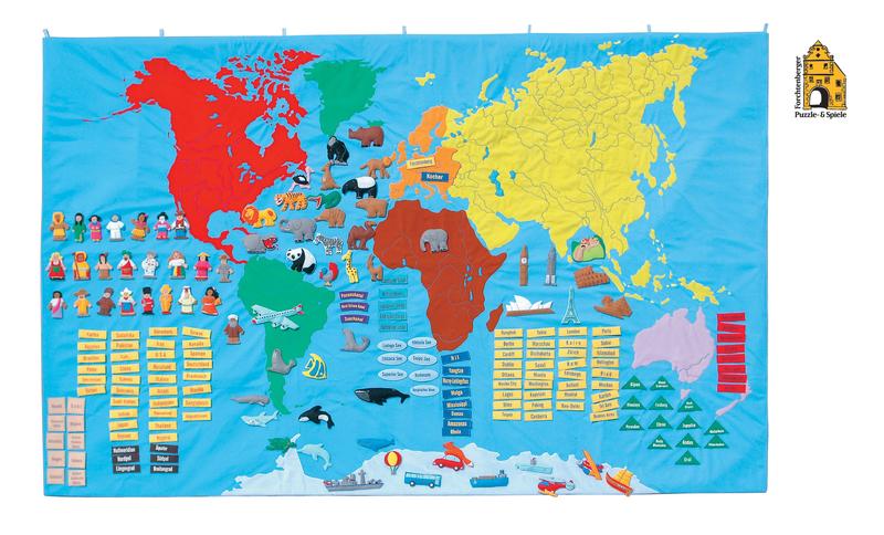 Weltkarte für Kinder aus Stoff mit Tragetasche, Kinderweltkarte